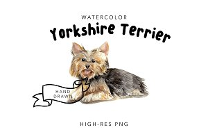 Watercolor Clipart Yorkshire Terrier