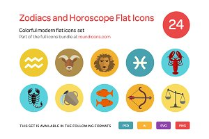 Zodiacs and Horoscope Flat Icons