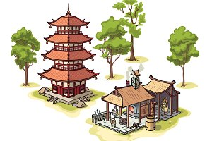 Pagoda, the Blacksmith and Trees