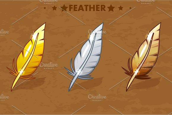 Gold, Silver and bronze Feather