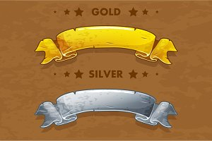 Vector cartoon gold and silver ribbons