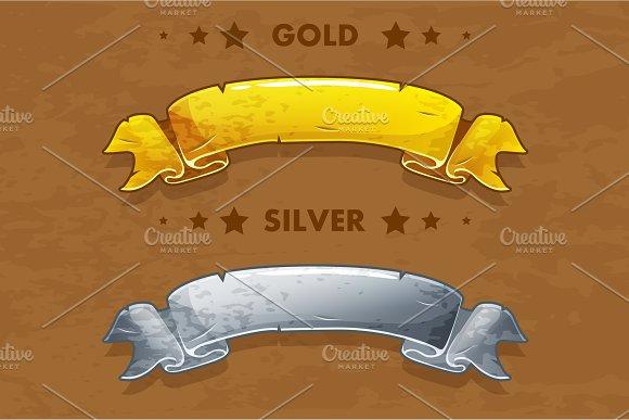 Vector Cartoon Gold And Silver Ribbons