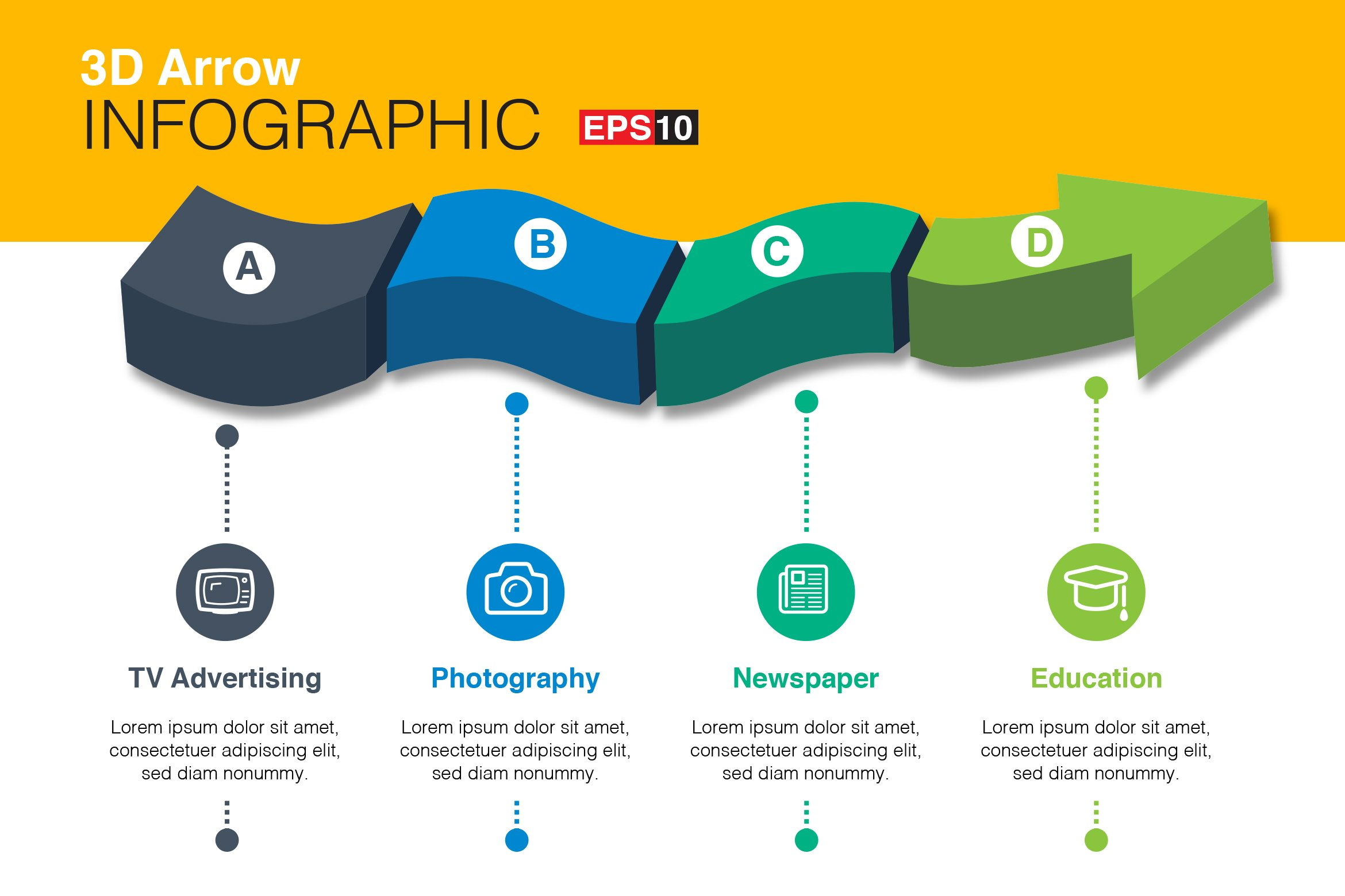 3D Vector Arrow Infographics ~ Graphic Objects ~ Creative ...