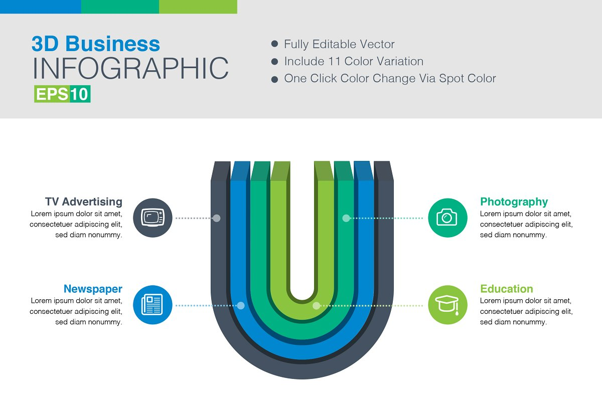 3D Vector Infographic in Graphics