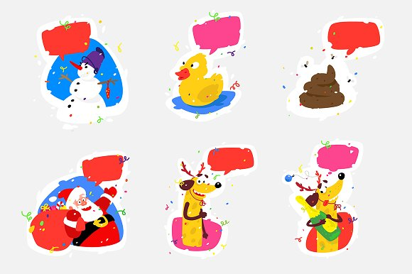 Christmas stickers set.