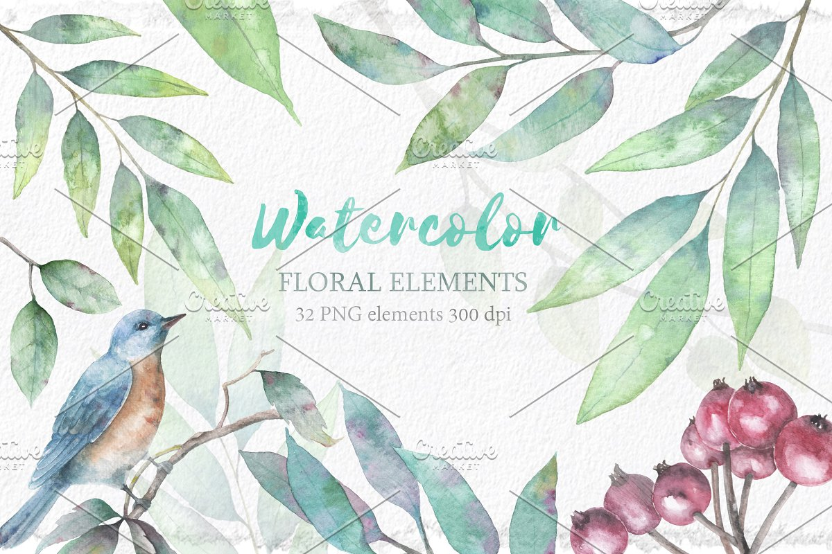 Watercolor floral collection.