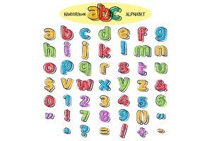 Colorful doodle alphabet