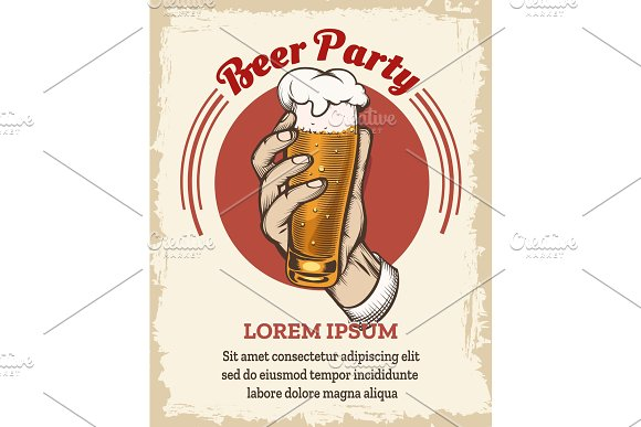 Beer retro poster in Illustrations