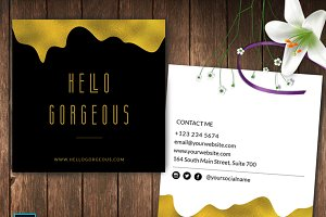 Square Gold Foil Business Card ID48