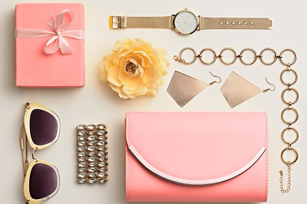 Beauty & Fashion Stock Photos: iBear - Fashion. Woman Pink Accessories Set.