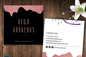 Square Rose Gold Business Card – ID4