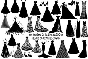LongBlack Dress SilhouetteAI EPS PNG