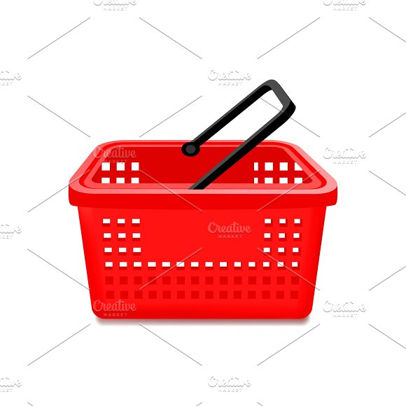 Red Supermarket Basket Isolated in Illustrations