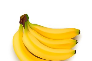 Realistic Ripe Bunch Of Bananas
