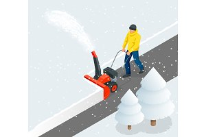 A man cleans snow from sidewalks with snowblower. City after blizzard. Isometric vector illustration.