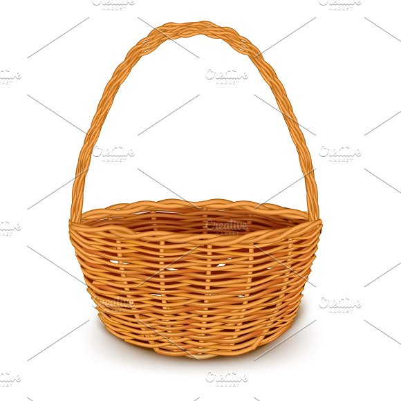 Traditional Wicker Basket Isolated in Illustrations