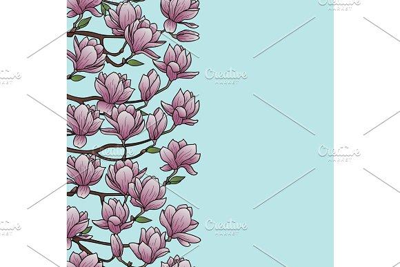 Magnolia Seamless Border