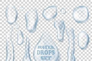 Isolated Water Drops Set