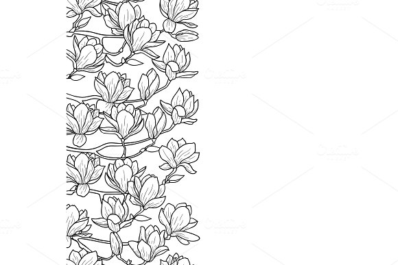 Magnolia Seamless Border in Illustrations