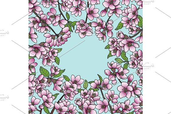 Magnolia and Cherry Spring Round Frame in Illustrations