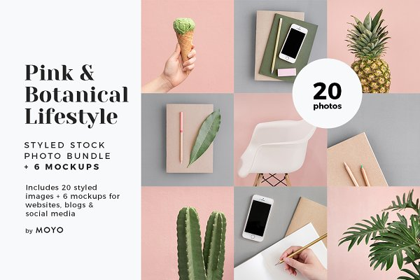 Pink & Botanical Stock Photo Bundle