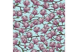 Magnolia Spring Seamless Pattern