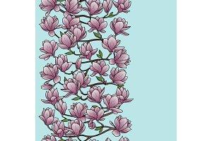 Magnolia Spring Seamless Border