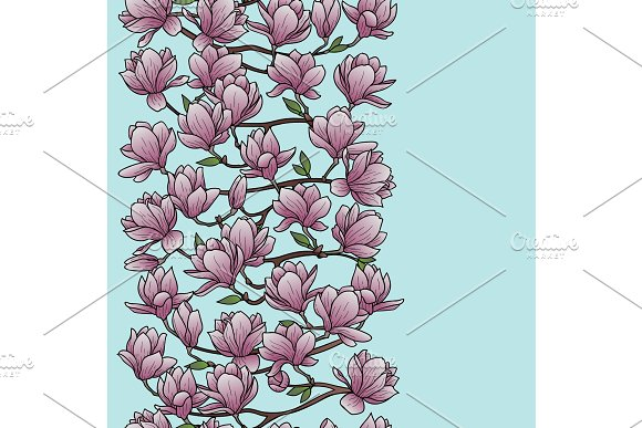 Magnolia Spring Seamless Border in Illustrations