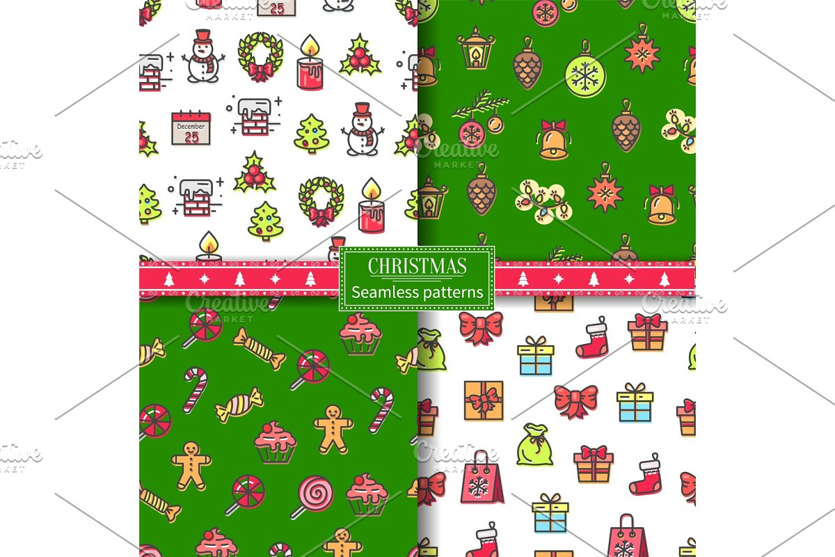 Christmas Seamless Pattern Set Vector Illustration