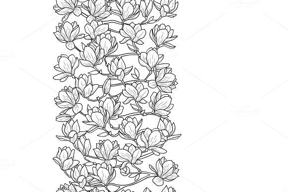 Magnolia Spring Seamless Border in Illustrations