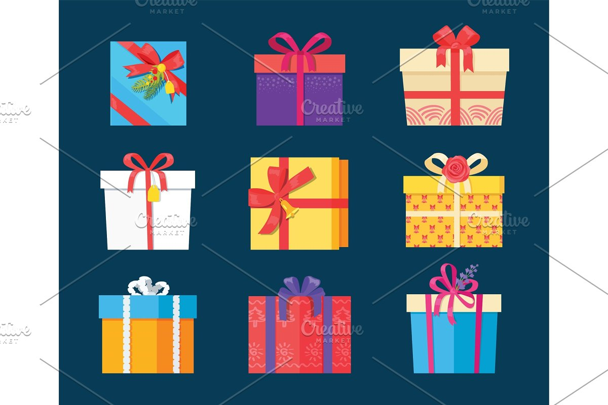Set Gift Box Presents Wrapped Package Icons Vector in Objects