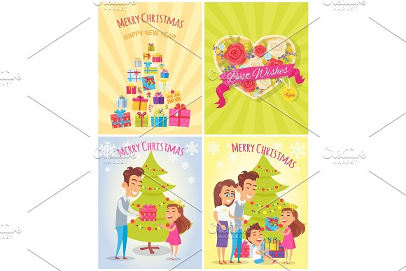 Merry Christmas and Happy Year Vector Illustration in Objects