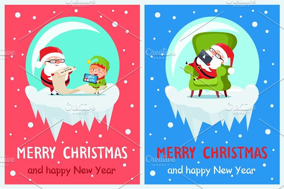 List of Gifts Merry Christmas Vector Illustration in Objects