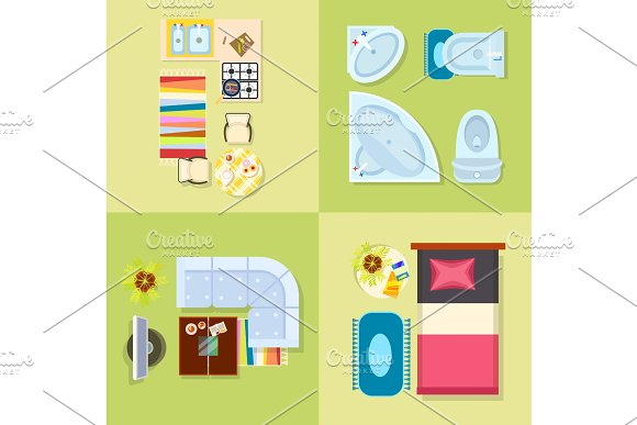 Kitchen and Bathroom Design Vector Illustration