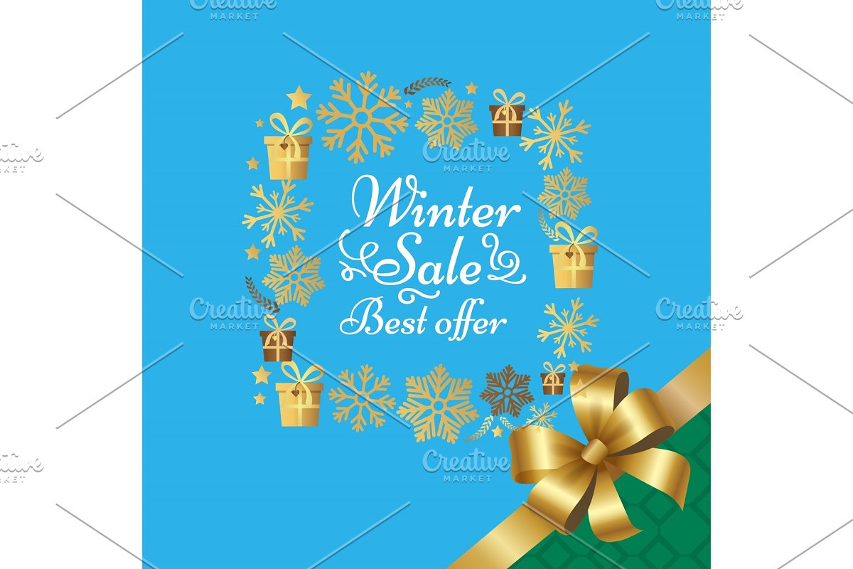 Winter Sale Best Offer Poster with Gift Bow Vector in Illustrations