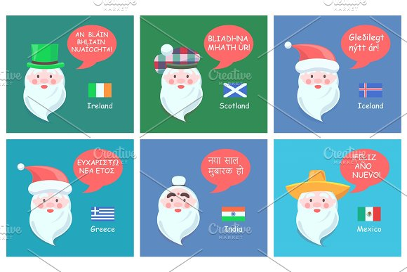 Ireland and Scotland Santa Vector Illustration