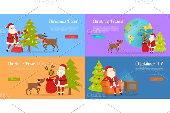 Christmas Decor and Present with Santa Claus