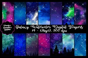 Galaxy Watercolor Digital Papers