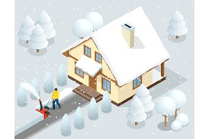 A man clears snow from sidewalks with snow blower backyard outside his house. City after a blizzard. House covered with snow. Isometric vector illustration