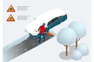 Man with shovel cleaning snow filled backyard outside his car. City after blizzard. Car covered with snow. Isometric vector illustration
