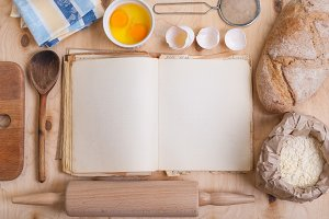 Baking background, blank cook book