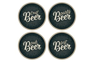 Craft Beer lettering with rays. Advertising design for coaster.
