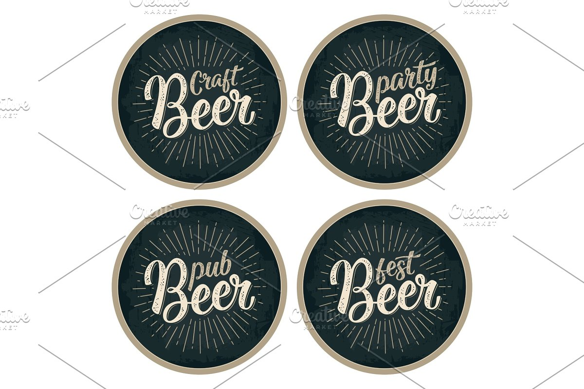 Craft Beer lettering coaster in Illustrations