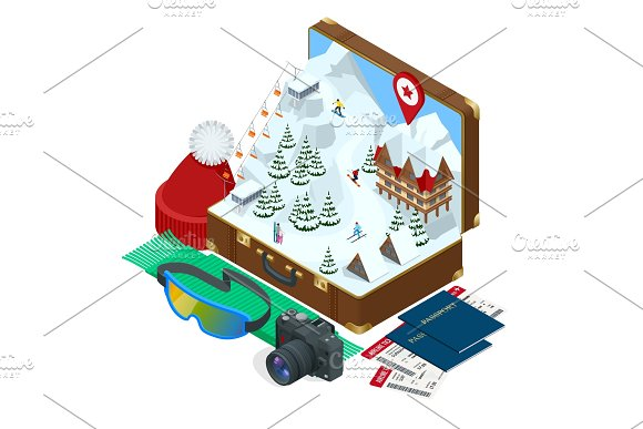 Ski resort, slope, people on the ski lift, skiers on the piste among white snow pine trees and hotel. Winter holiday web banner design. Vector isometric illustration. in Textures