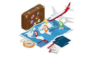 Travel and tourism background. Flat 3d Vector illustration. To travel is to live Bag, passport, tickets and Passenger airplane. Luxury vacation. Our travel destinations banner.