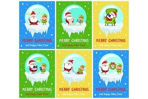 Merry Christmas Happy New Year Santa Elf Banners