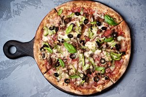 Pizza with Ham and Jalapenos