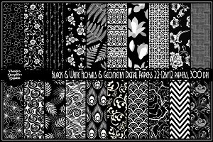 Black&White Florals/Geometric Papers