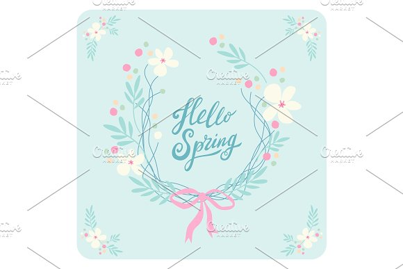 Cute rustic hand drawn Easter wreath of spring flowers with hand written text Hello Spring in Illustrations