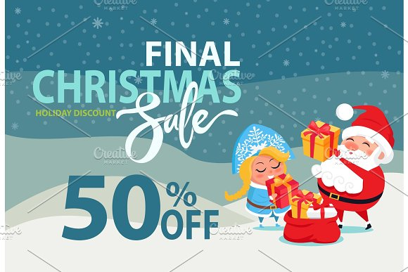 Christmas Sale Off Promo Poster Santa Snow Maiden in Objects